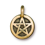 TierraCast Pentagram Charm, Antique Gold